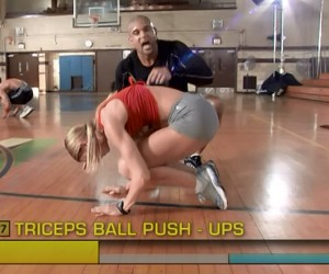 Insanity Cardio Power & Resistance-triceps ball pushups