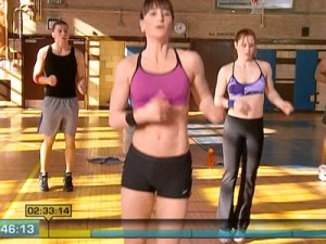 Insanity Max Cardio Conditioning-jump rope side to side