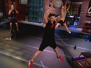 P90X2 Plyocide-wide leg jump press with med ball