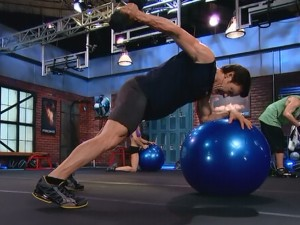 P90X2 Total Body-triceps kickback on stability ball
