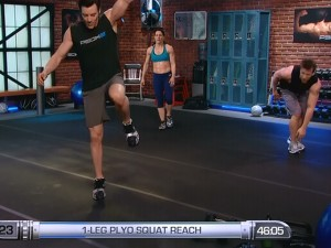 P90X2 Balance and Power-1 leg plyo squat reach