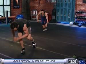 P90X2 Balance and Power-4 direction 1-leg hop squat