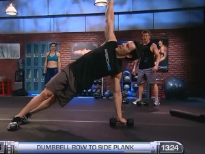 P90X2 Balance and Power-dumbbell row to side plank
