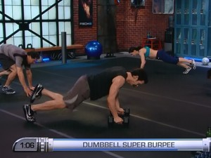 P90X2 Balance and Power-dumbbell super burpee