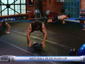 P90X2 Chest Back and Balance-medicine ball plyo pushup