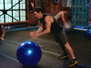 P90X2 Chest Back and Balance-plyo stability ball pushup