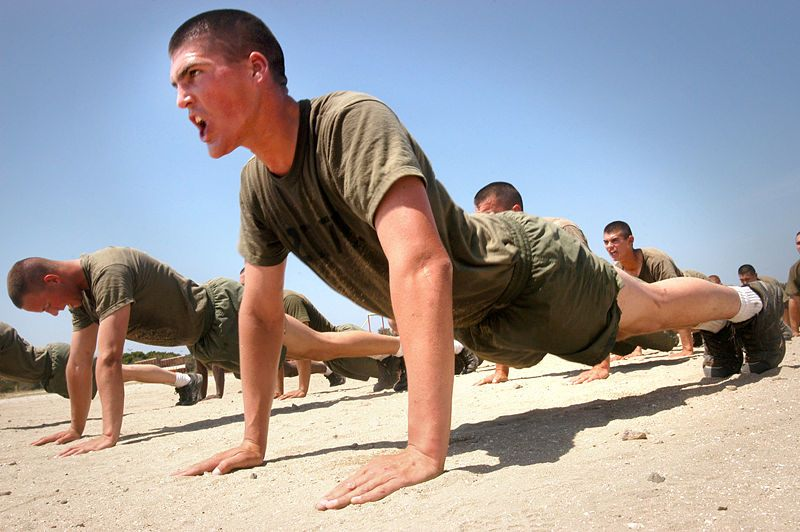 marines doing pushups